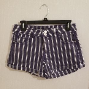 Blue/White Striped Mid Waisted Shorts